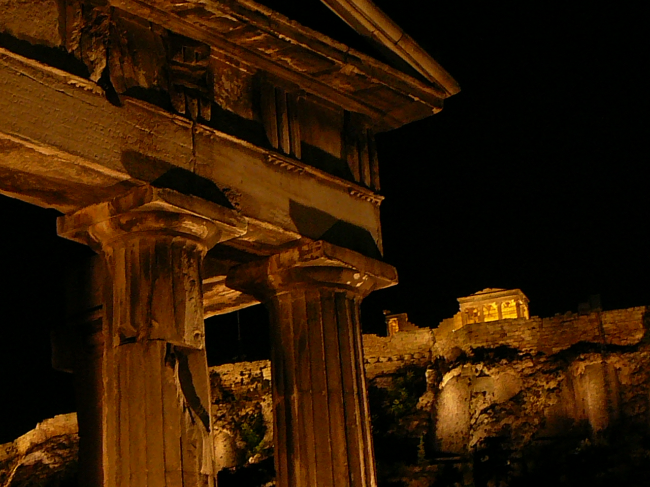 Gate of Athena and Temple of Athena Nike in Background and night