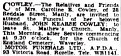 DEATH ANNOUNCEMENT JOHN KEARSE COWLEY Monday 10 April 1950
