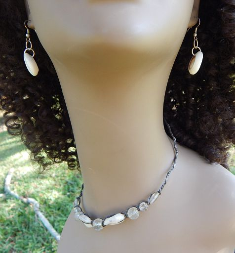Vintage Handmade Cowrie Shell & Bead Choker Necklace With Cowrie Shell Earrings