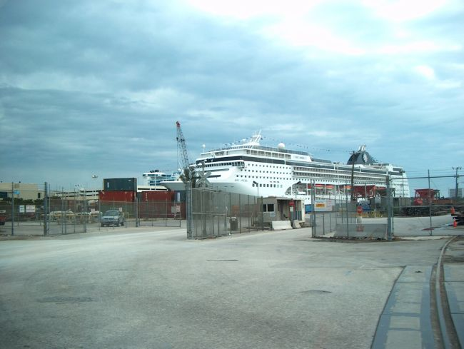 First view of MSC Opera in Port Everglades
