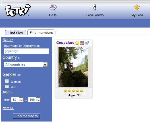 Gopackgo member search