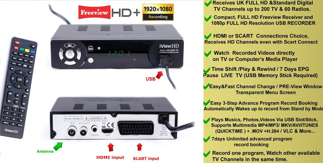 Details about FULL HD Freeview Receiver &HD Recorder DIGITAL TV Set Top Box  Digibox SCART HDMI