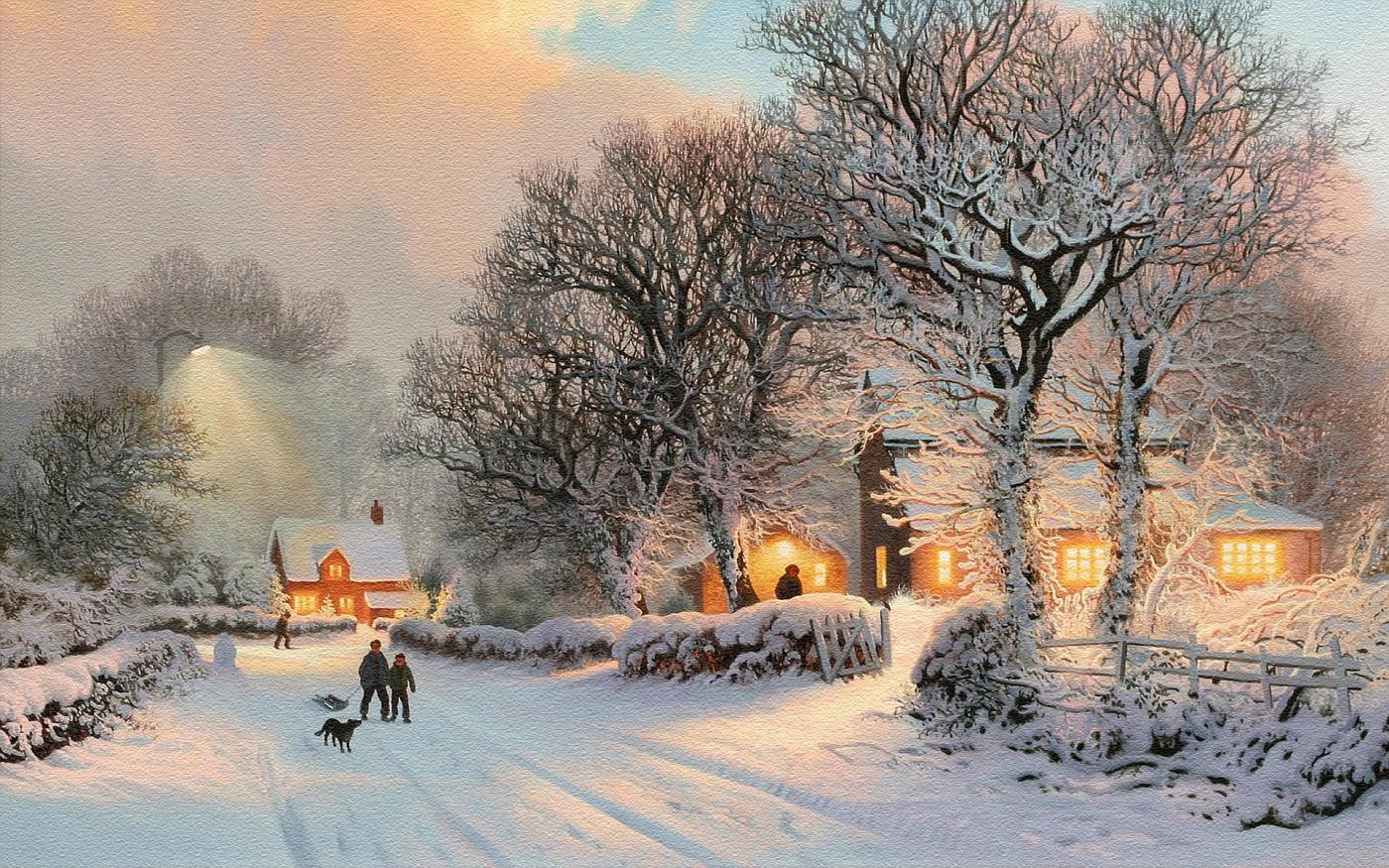 Снег, зима, деревня, прогулка, дети, санки, собака, заснеженные деревья, ог