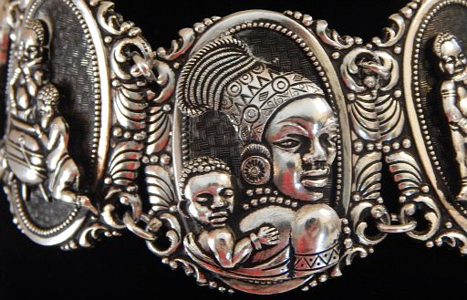 Vintage African Life Silver-Tone Four Panel Bracelet