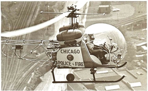 Chicago Police helicopter in 1970