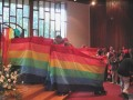 Rainbow Banner, led by Leela, our new minister